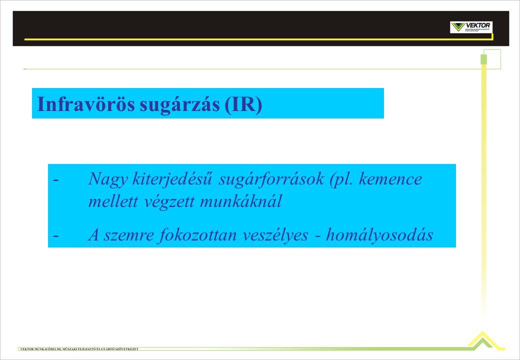 Infravörös sugárzás (IR) -Nagy kiterjedésű sugárforrások (pl. kemence mellett végzett munkáknál -A szemre fokozottan veszélyes - homályosodás