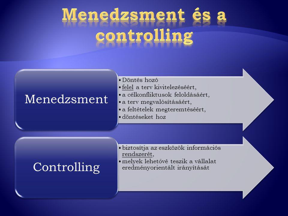 Döntés hozó felel a terv kivitelezéséért, a célkonfliktusok feloldásáért, a terv megvalósításáért, a feltételek megteremtéséért, döntéseket hoz Menedz