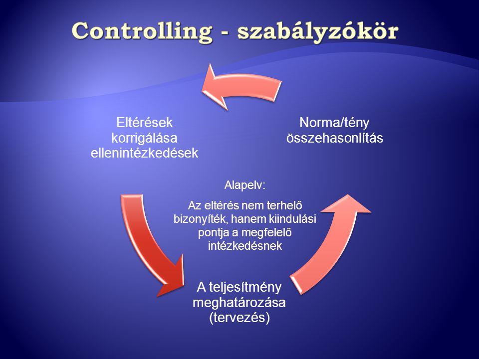 Eltérések korrigálása ellenintézkedések A teljesítmény meghatározása (tervezés) Norma/tény összehasonlítás Alapelv: Az eltérés nem terhelő bizonyíték,