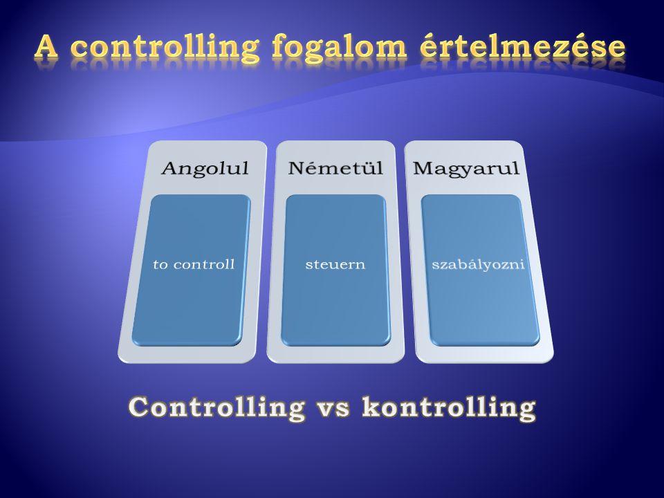 Controller Az a személy/intézmény, amely ezt a folyamatot módszereivel és eszközeivel támogatja és döntésorientált információkkal szolgál ControllerInformáció szolgáltató Controlling A tervezési és irányítási folyamat biztosítása a vezetőség legfőbb feladata ControllingMenedzsment funkció