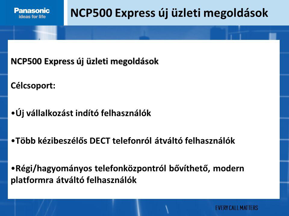 EVERY CALL MATTERS NCP500X Digitális megoldás KX-NCP500X új üzleti megoldások Digitális telefonrendszer 4-12 felhasználó számára 4 digitális mellék port alapkiépítésben (12-re bővíthető) 4 analóg mellék port (hagyományos telefon vagy fax számára) Beépített BRI2 ISDN kártya Communication Assistant Basic-Express szoftver alkalmazás minden felhasználónak