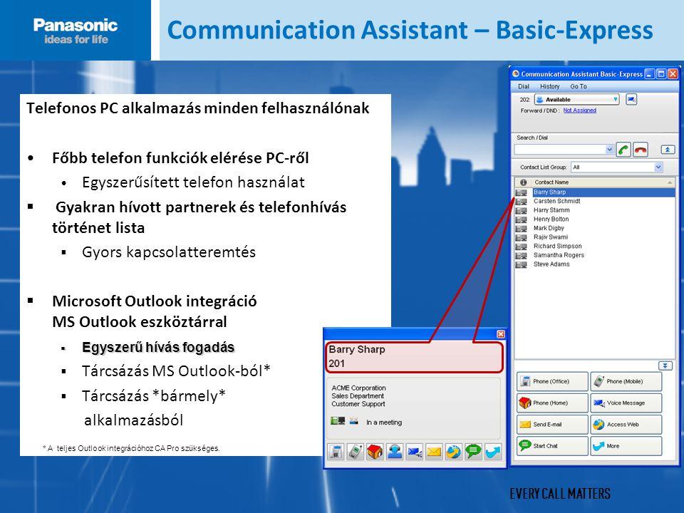 EVERY CALL MATTERS Communication Assistant – Basic-Express Telefonos PC alkalmazás minden felhasználónak Főbb telefon funkciók elérése PC-ről Egyszerűsített telefon használat  Gyakran hívott partnerek és telefonhívás történet lista  Gyors kapcsolatteremtés  Microsoft Outlook integráció MS Outlook eszköztárral  Egyszerű hívás fogadás  Tárcsázás MS Outlook-ból*  Tárcsázás *bármely* alkalmazásból * A teljes Outlook integrációhoz CA Pro szükséges.
