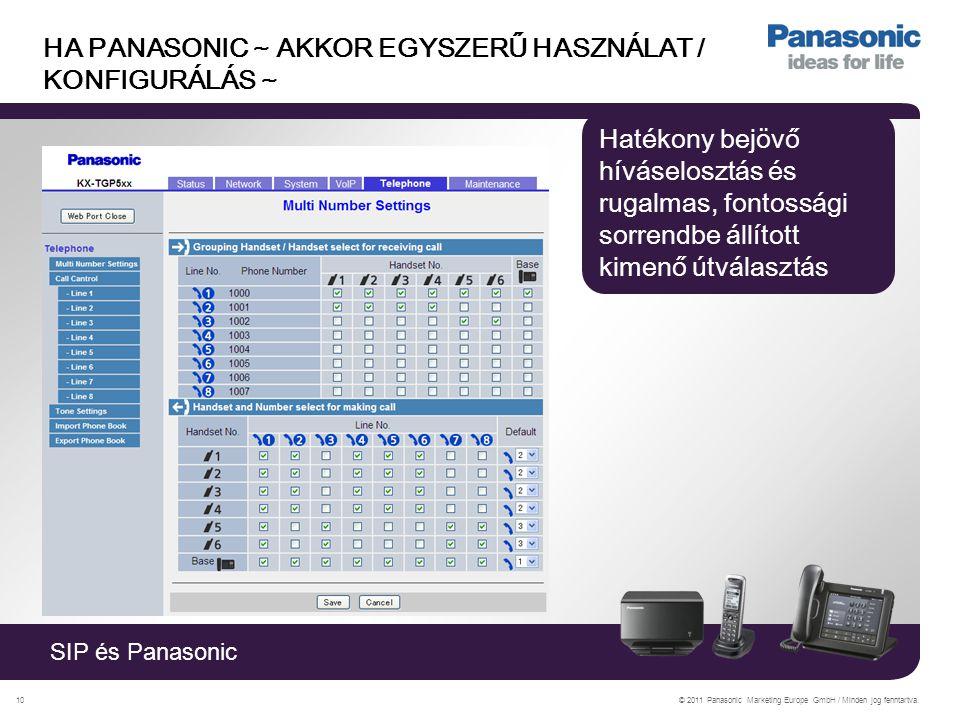 SIP és Panasonic © 2011 Panasonic Marketing Europe GmbH / Minden jog fenntartva.10 HA PANASONIC ~ AKKOR EGYSZERŰ HASZNÁLAT / KONFIGURÁLÁS ~ Hatékony bejövő híváselosztás és rugalmas, fontossági sorrendbe állított kimenő útválasztás