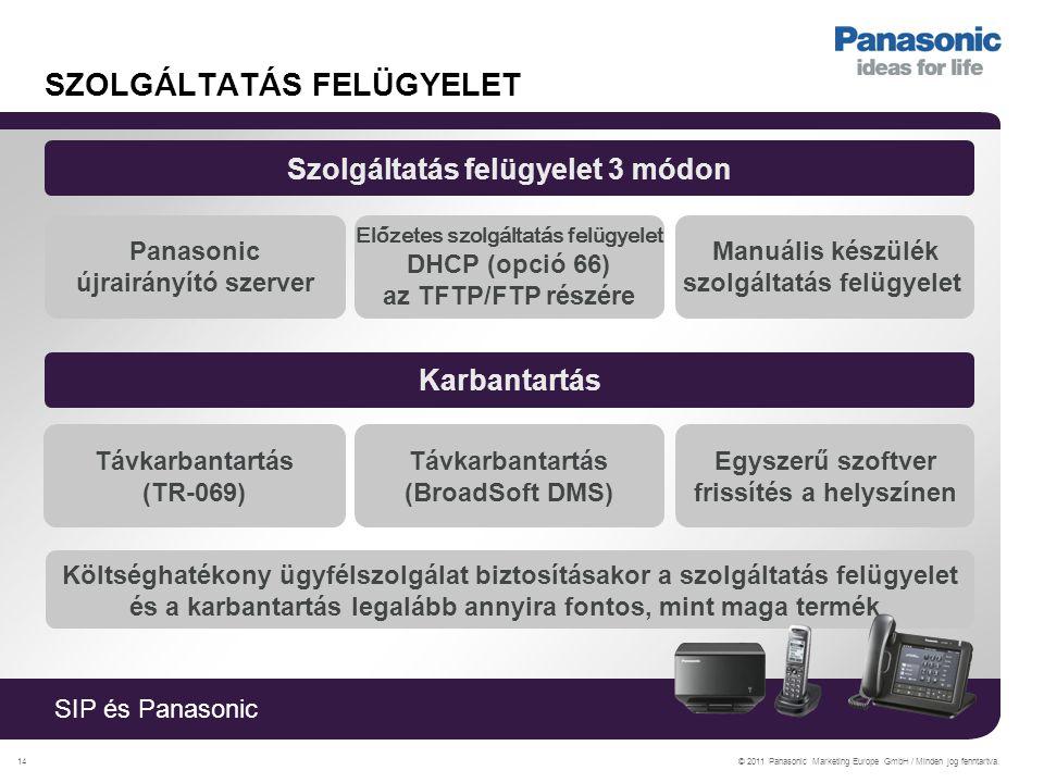 SIP és Panasonic © 2011 Panasonic Marketing Europe GmbH / Minden jog fenntartva.14 SZOLGÁLTATÁS FELÜGYELET Szolgáltatás felügyelet 3 módon Panasonic újrairányító szerver Előzetes szolgáltatás felügyelet DHCP (opció 66) az TFTP/FTP részére Manuális készülék szolgáltatás felügyelet Karbantartás Távkarbantartás (TR-069) Távkarbantartás (BroadSoft DMS) Egyszerű szoftver frissítés a helyszínen Költséghatékony ügyfélszolgálat biztosításakor a szolgáltatás felügyelet és a karbantartás legalább annyira fontos, mint maga termék