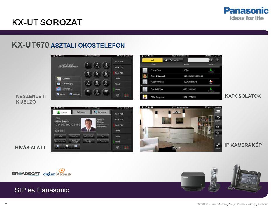 SIP és Panasonic © 2011 Panasonic Marketing Europe GmbH / Minden jog fenntartva.22 KX-UT SOROZAT KX-UT670 ASZTALI OKOSTELEFON KÉSZENLÉTI KIJELZŐ HÍVÁS ALATT IP KAMERA KÉP KAPCSOLATOK