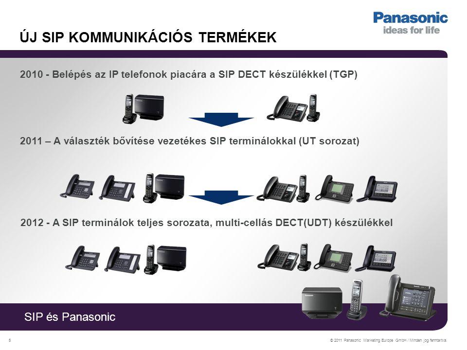 SIP és Panasonic © 2011 Panasonic Marketing Europe GmbH / Minden jog fenntartva.5 ÚJ SIP KOMMUNIKÁCIÓS TERMÉKEK 2010 - Belépés az IP telefonok piacára a SIP DECT készülékkel (TGP) 2011 – A választék bővítése vezetékes SIP terminálokkal (UT sorozat) 2012 - A SIP terminálok teljes sorozata, multi-cellás DECT(UDT) készülékkel