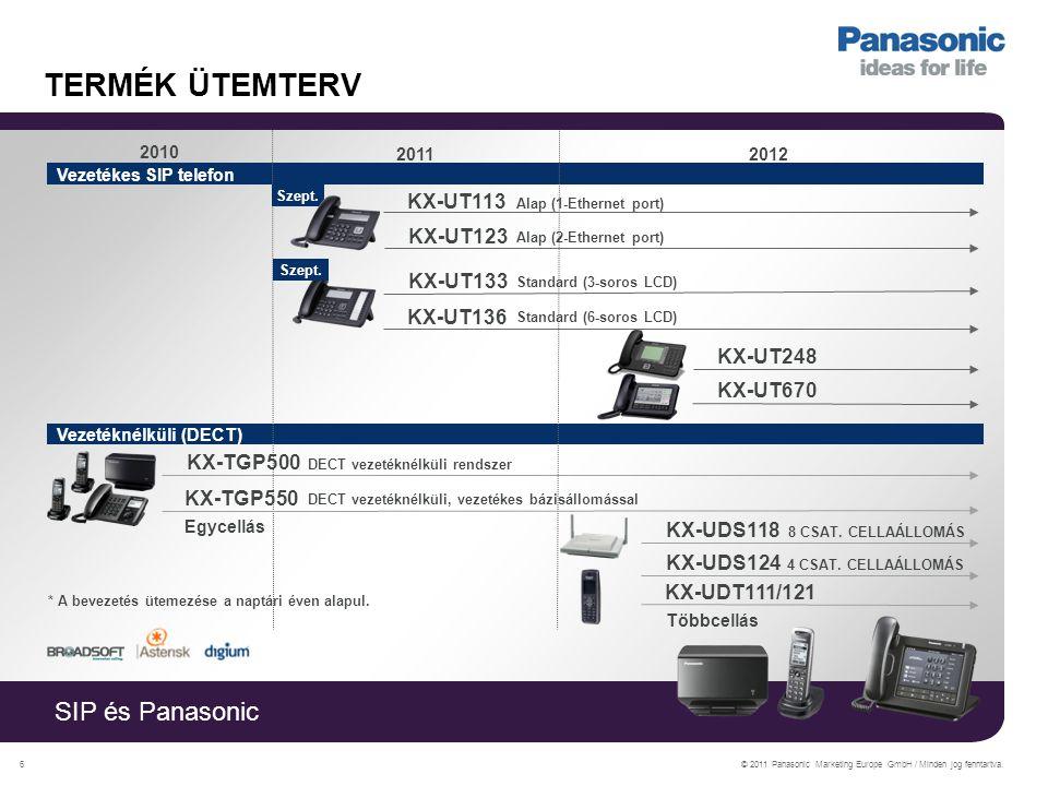 SIP és Panasonic © 2011 Panasonic Marketing Europe GmbH / Minden jog fenntartva.17 KX-TGP550 ~ HD HANGMINŐSÉGŰ SIP DECT ~ KX-TGP550 SIP D ECT vezetékes bázisállomással  3 egyidejű SIP külső beszélgetést tesz lehetővé  HD szélessávú audió (G.722) és a DECT rádiótechnológia egyesítése  Egyszerű web -alapú konfiguráció  2,1 hüvelykes, nagyméretű LCD kijelző a hordozható készüléken, fehér háttérvilágítással  Programozható csengetési csoportok  Max.
