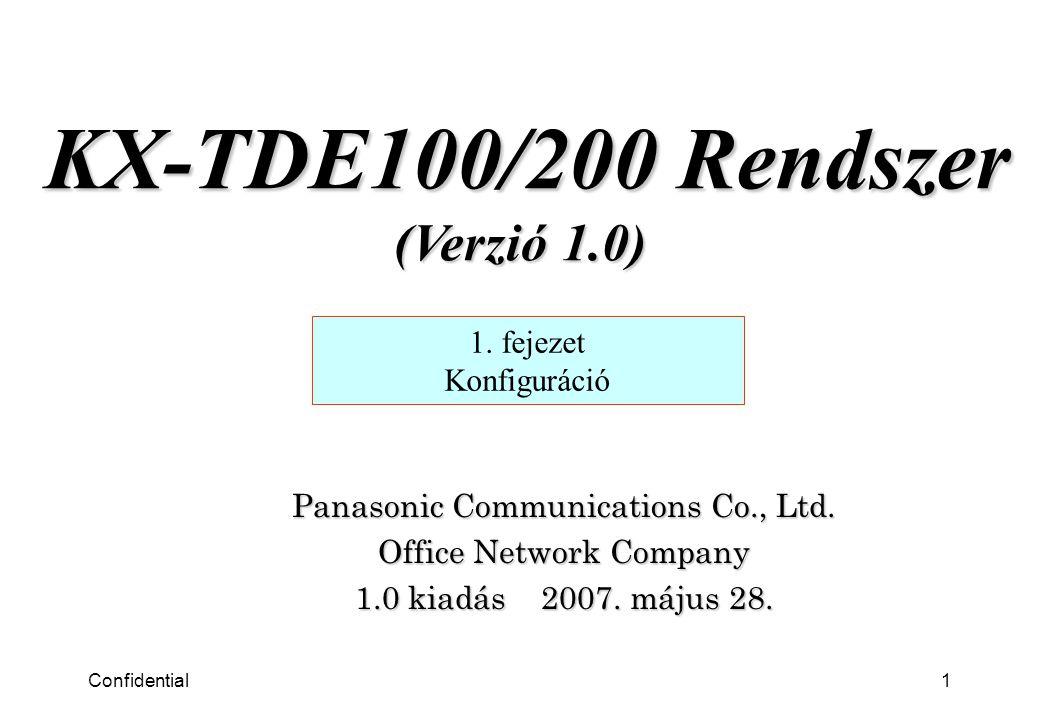 Confidential1 Panasonic Communications Co., Ltd.Office Network Company 1.0 kiadás 2007.