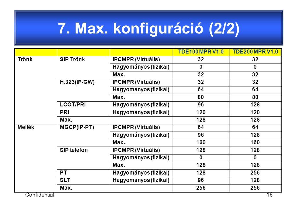 Confidential16 TDE100 MPR V1.0TDE200 MPR V1.0 TrönkSIP TrönkIPCMPR (Virtuális)32 Hagyományos (fizikai)00 Max.32 H.323(IP-GW)IPCMPR (Virtuális)32 Hagyományos (fizikai)64 Max.80 LCOT/PRIHagyományos (fizikai)96128 PRIHagyományos (fizikai)120 Max.128 MellékMGCP(IP-PT)IPCMPR (Virtuális)64 Hagyományos (fizikai)96128 Max.160 SIP telefonIPCMPR (Virtuális)128 Hagyományos (fizikai)00 Max.128 PTHagyományos (fizikai)128256 SLTHagyományos (fizikai)96128 Max.256 7.