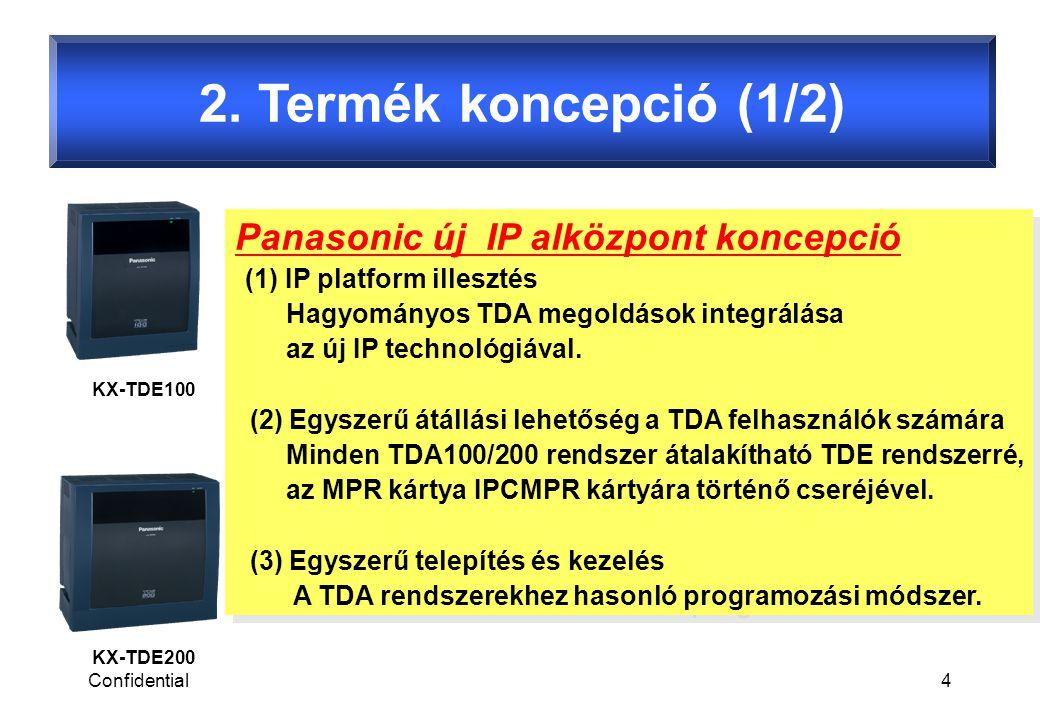Confidential5 2.Termék koncepció (2/2) KX-TDE100 KX-TDE200 TDE új funkciók : 1.