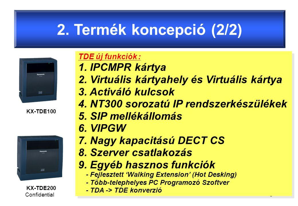 Confidential5 2. Termék koncepció (2/2) KX-TDE100 KX-TDE200 TDE új funkciók : 1.