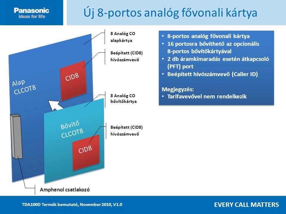 EVERY CALL MATTERS TDA100D Termék bemutató, November 2010, V1.0 Alap CLCOT8 Alap CLCOT8 Új 8-portos analóg fővonali kártya 8 Analóg CO alapkártya 8-portos analóg fővonali kártya 16 portosra bővíthető az opcionális 8-portos bővítőkártyával 2 db áramkimaradás esetén átkapcsoló (PFT) port Beépített hívószámvevő (Caller ID) Megjegyzés: Tarifavevővel nem rendelkezik 8-portos analóg fővonali kártya 16 portosra bővíthető az opcionális 8-portos bővítőkártyával 2 db áramkimaradás esetén átkapcsoló (PFT) port Beépített hívószámvevő (Caller ID) Megjegyzés: Tarifavevővel nem rendelkezik Bővítő CLCOT8 Bővítő CLCOT8 CID8 Beépített (CID8) hívószámvevő 8 Analóg CO bővítőkártya Amphenol csatlakozó CID8 Beépített (CID8) hívószámvevő