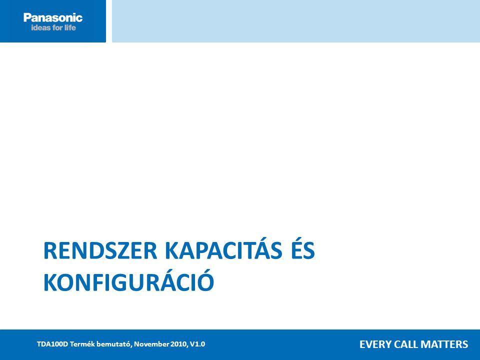EVERY CALL MATTERS TDA100D Termék bemutató, November 2010, V1.0 RENDSZER KAPACITÁS ÉS KONFIGURÁCIÓ