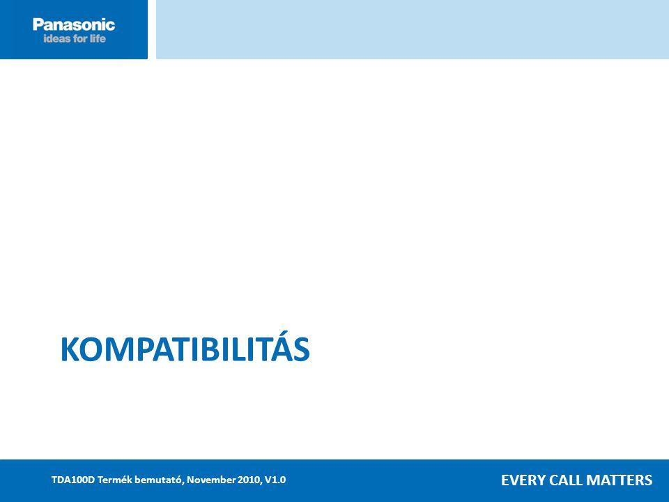 EVERY CALL MATTERS TDA100D Termék bemutató, November 2010, V1.0 KOMPATIBILITÁS