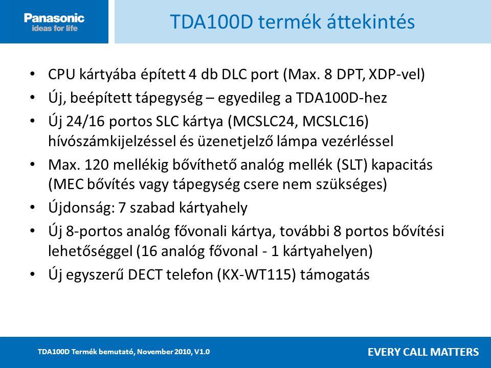 EVERY CALL MATTERS TDA100D Termék bemutató, November 2010, V1.0 CPU kártyába épített 4 db DLC port (Max.