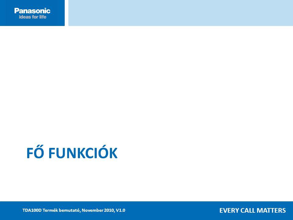 EVERY CALL MATTERS TDA100D Termék bemutató, November 2010, V1.0 FŐ FUNKCIÓK