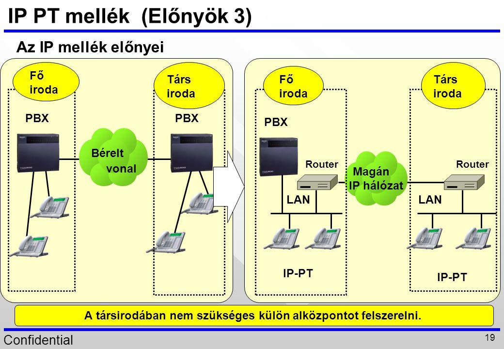 Confidential 19 IP PT mellék (Előnyök 3) Bérelt vonal PBX Társ iroda Fő iroda Az IP mellék előnyei A társirodában nem szükséges külön alközpontot fels