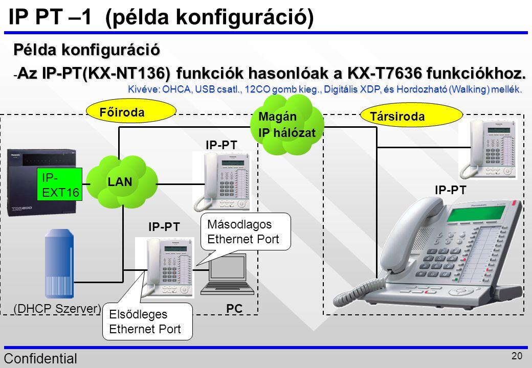 Confidential 20 IP PT –1 (példa konfiguráció) Példa konfiguráció - Az IP-PT(KX-NT136) funkciók hasonlóak a KX-T7636 funkciókhoz. LAN Főiroda Társiroda