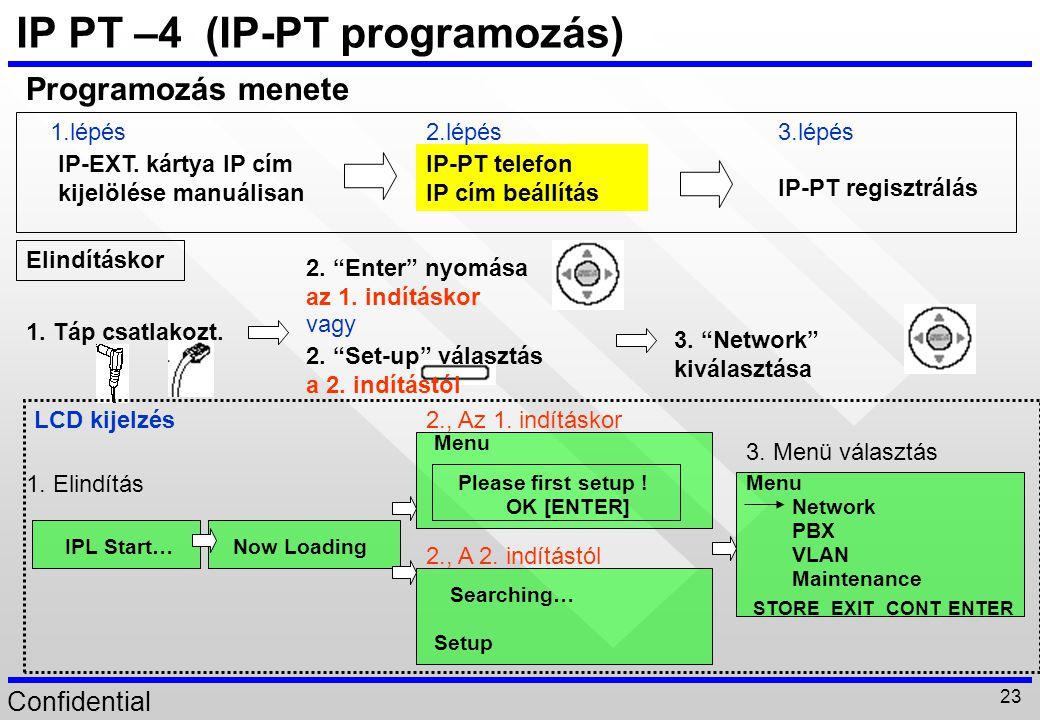 """Confidential 23 2. """"Set-up"""" választás a 2. indítástól IP-EXT. kártya IP cím kijelölése manuálisan IP-PT telefon IP cím beállítás IP-PT regisztrálás Pr"""