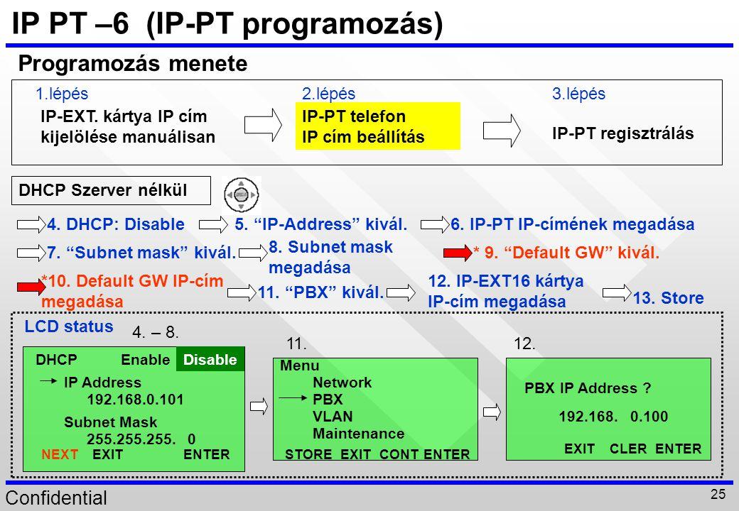 Confidential 25 IP PT –6 (IP-PT programozás) IP-EXT. kártya IP cím kijelölése manuálisan IP-PT telefon IP cím beállítás IP-PT regisztrálás Programozás