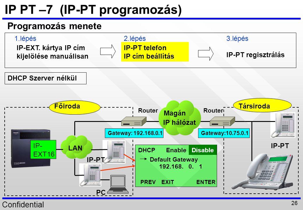 Confidential 26 IP PT –7 (IP-PT programozás) IP-EXT. kártya IP cím kijelölése manuálisan IP-PT telefon IP cím beállítás IP-PT regisztrálás Programozás