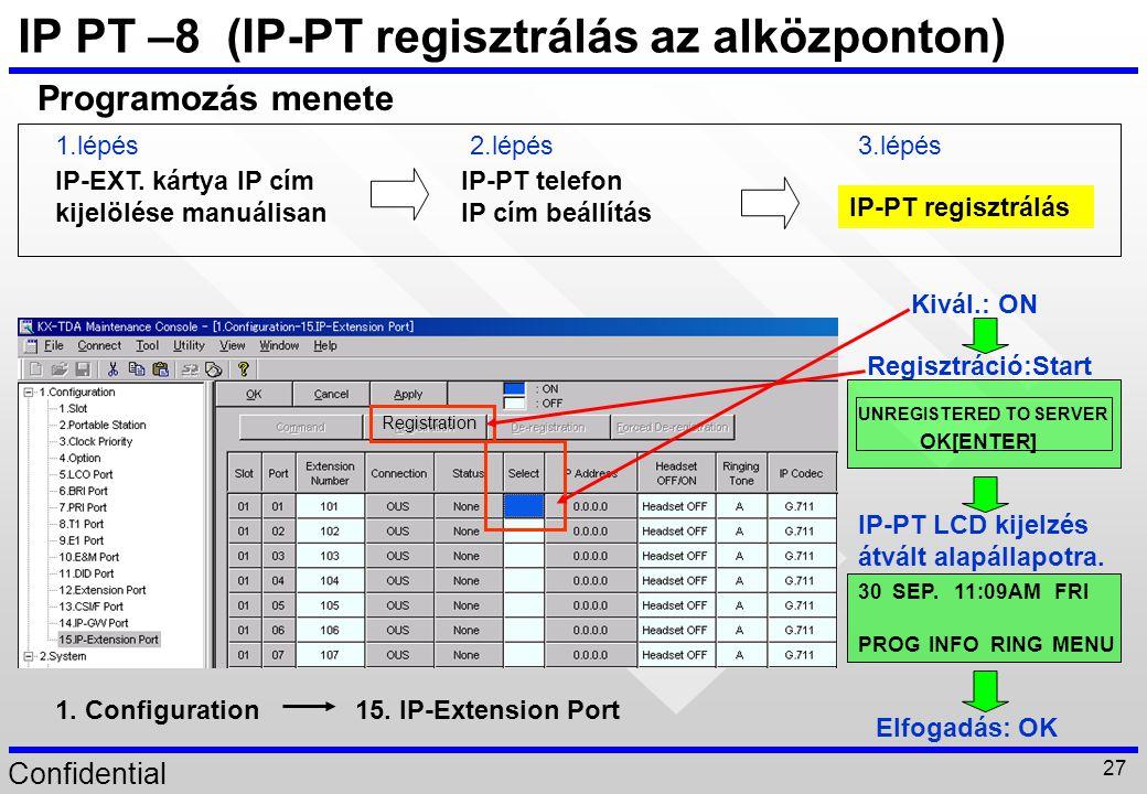 Confidential 27 IP PT –8 (IP-PT regisztrálás az alközponton) IP-EXT. kártya IP cím kijelölése manuálisan IP-PT telefon IP cím beállítás IP-PT regisztr