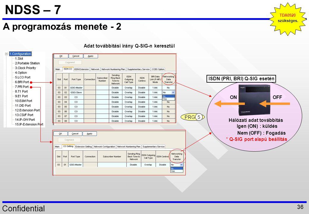Confidential 36 NDSS – 7 A programozás menete - 2 ISDN (PRI, BRI) Q-SIG esetén Hálózati adat továbbítás Igen (ON) : küldés Nem (OFF) : Fogadás * Q-SIG