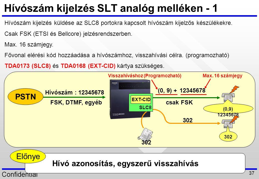 Confidential 37 Hívószám : 12345678 Hívószám kijelzés SLT analóg melléken - 1 Hívószám kijelzés küldése az SLC8 portokra kapcsolt hívószám kijelzős ké