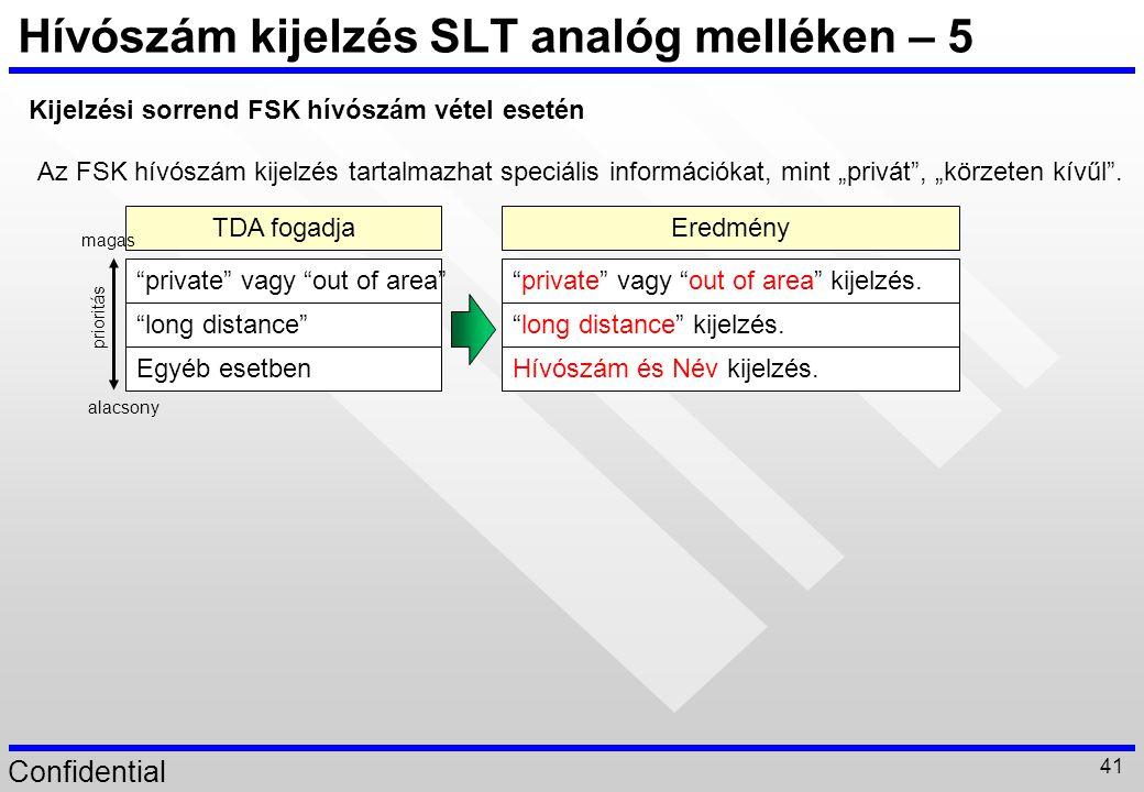 Confidential 41 Hívószám kijelzés SLT analóg melléken – 5 Kijelzési sorrend FSK hívószám vétel esetén Az FSK hívószám kijelzés tartalmazhat speciális