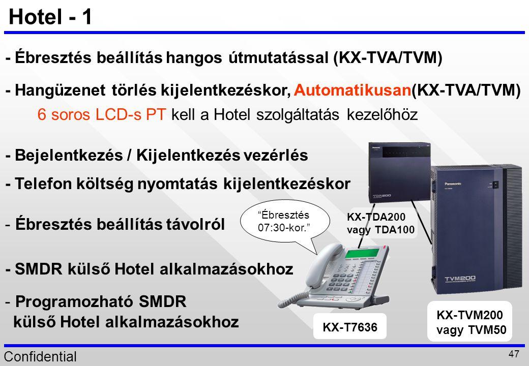 Confidential 47 Hotel - 1 - Ébresztés beállítás hangos útmutatással (KX-TVA/TVM) - Hangüzenet törlés kijelentkezéskor, Automatikusan(KX-TVA/TVM) 6 sor