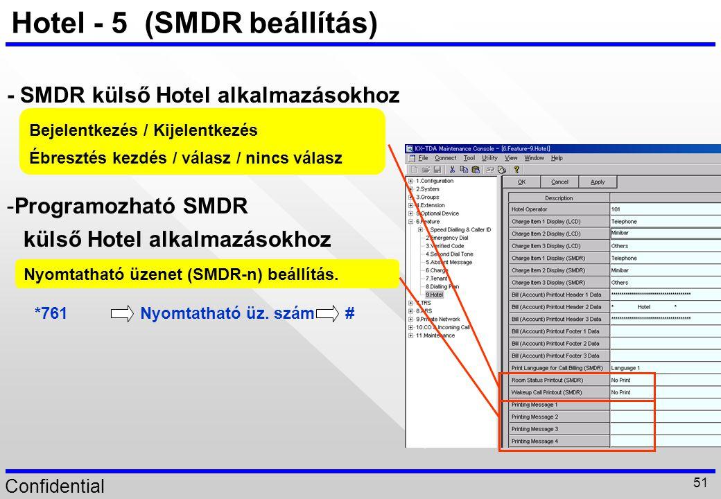 Confidential 51 Hotel - 5 (SMDR beállítás) -Programozható SMDR külső Hotel alkalmazásokhoz - SMDR külső Hotel alkalmazásokhoz Bejelentkezés / Kijelent