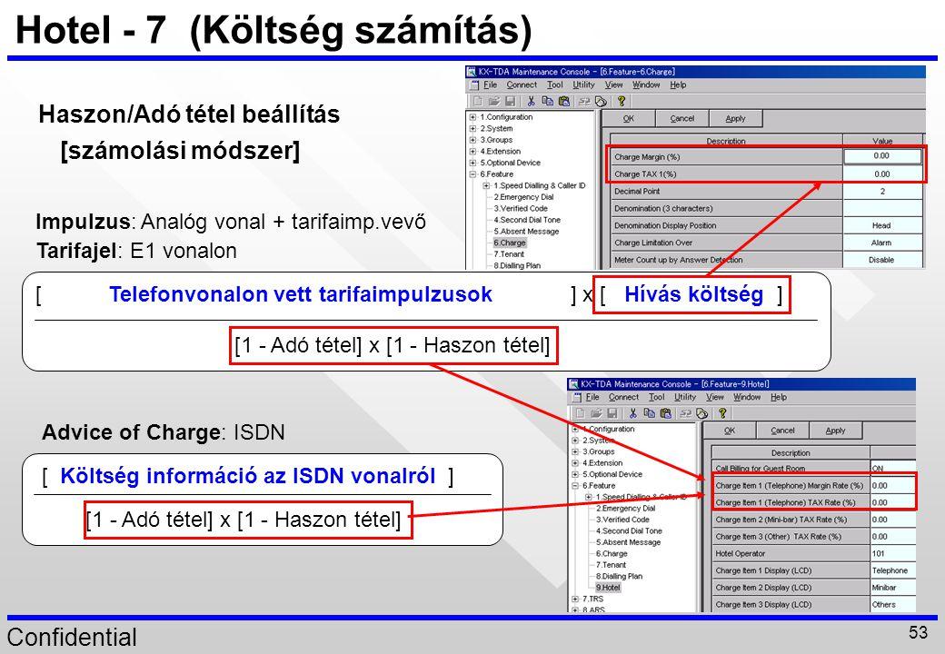 Confidential 53 Hotel - 7 (Költség számítás) Haszon/Adó tétel beállítás [számolási módszer] [ Költség információ az ISDN vonalról ] [1 - Adó tétel] x