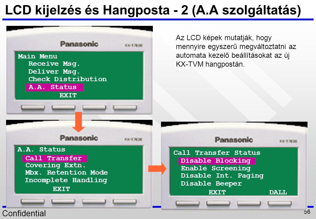 Confidential 56 LCD kijelzés és Hangposta - 2 (A.A szolgáltatás) Main Menu Deliver Msg. Check Distribution EXIT Receive Msg. A.A. Status Covering Extn