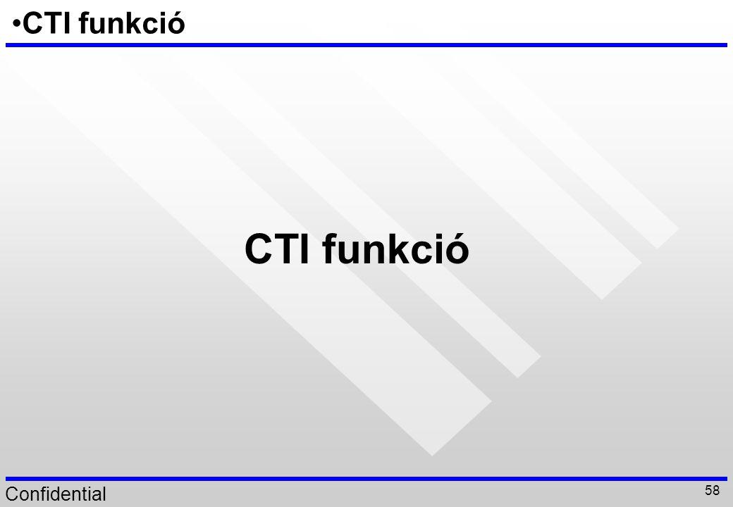 Confidential 58 CTI funkció