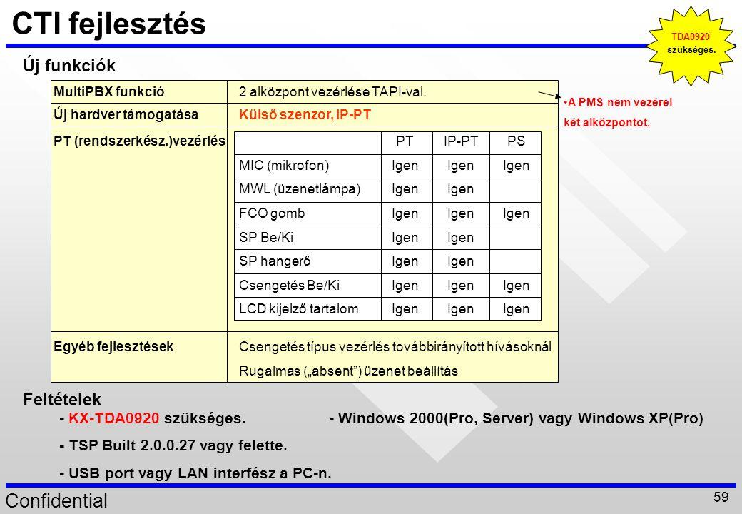 """Confidential 59 CTI fejlesztés Új hardver támogatásaKülső szenzor, IP-PT Csengetés típus vezérlés továbbirányított hívásoknál Rugalmas (""""absent"""") üzen"""