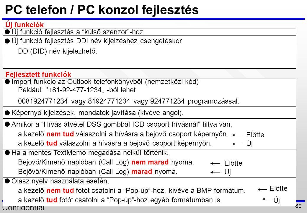 Confidential 60 PC telefon / PC konzol fejlesztés DDI(DID) név kijelezhető. Például: