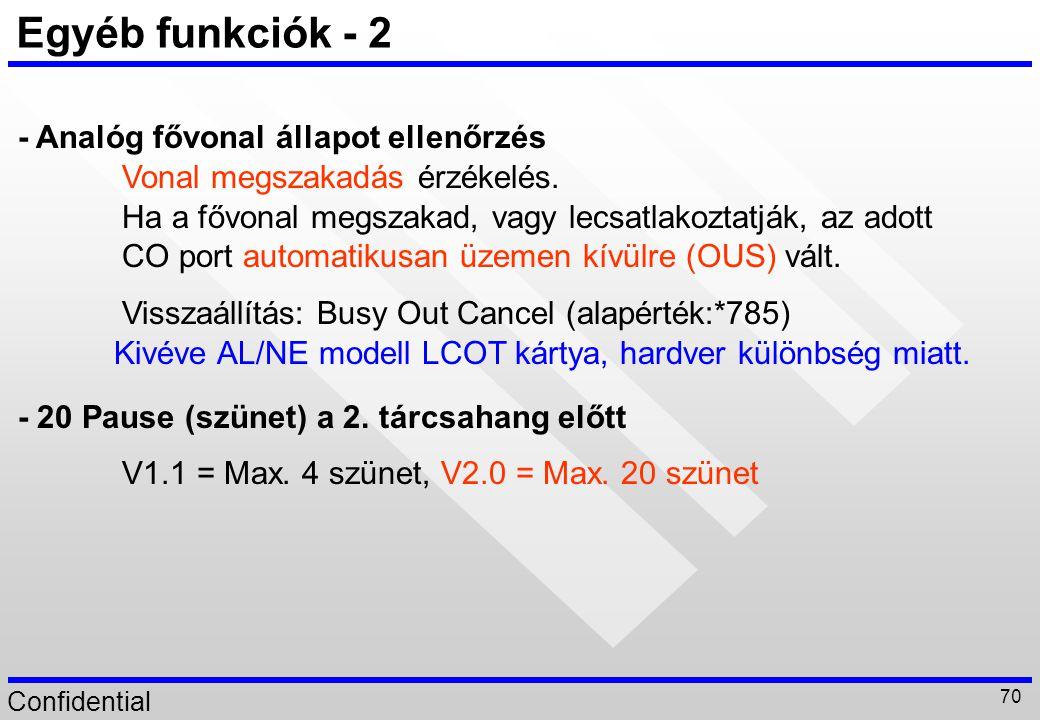 Confidential 70 Egyéb funkciók - 2 - Analóg fővonal állapot ellenőrzés Vonal megszakadás érzékelés. - 20 Pause (szünet) a 2. tárcsahang előtt V1.1 = M