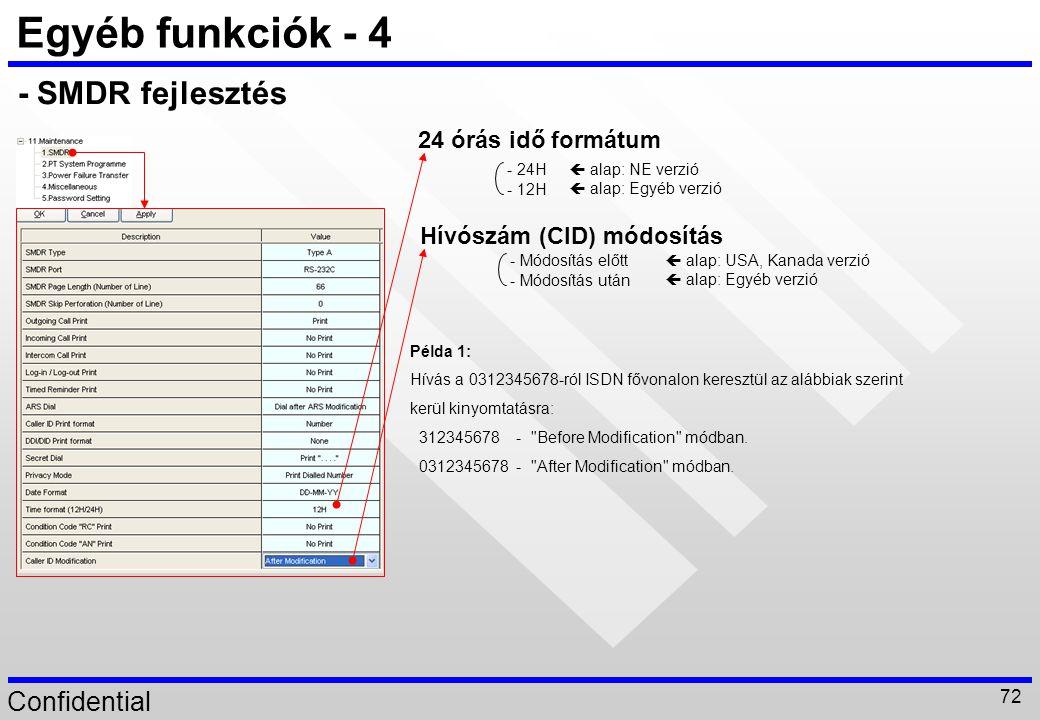 Confidential 72 Egyéb funkciók - 4 24 órás idő formátum Hívószám (CID) módosítás Példa 1: Hívás a 0312345678-ról ISDN fővonalon keresztül az alábbiak