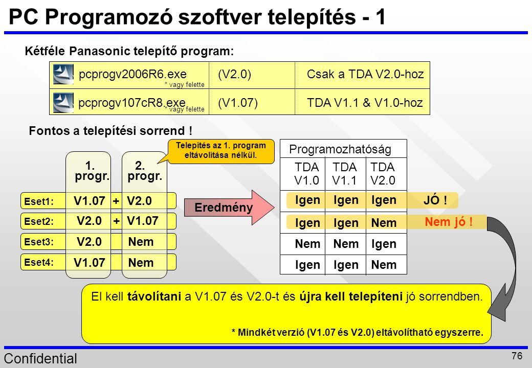 Confidential 76 PC Programozó szoftver telepítés - 1 Kétféle Panasonic telepítő program: Fontos a telepítési sorrend ! pcprogv2006R6.exe pcprogv107cR8