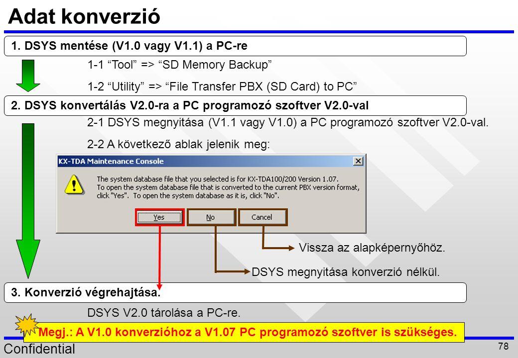 Confidential 78 3. Konverzió végrehajtása. DSYS V2.0 tárolása a PC-re. Adat konverzió 2. DSYS konvertálás V2.0-ra a PC programozó szoftver V2.0-val 2-