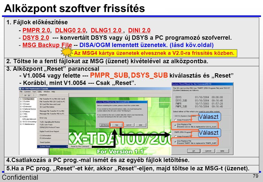 Confidential 79 Alközpont szoftver frissítés 1. Fájlok előkészítése - PMPR 2.0, DLNG0 2.0, DLNG1 2.0, DINI 2.0 - DSYS 2.0 --- konvertált DSYS vagy új