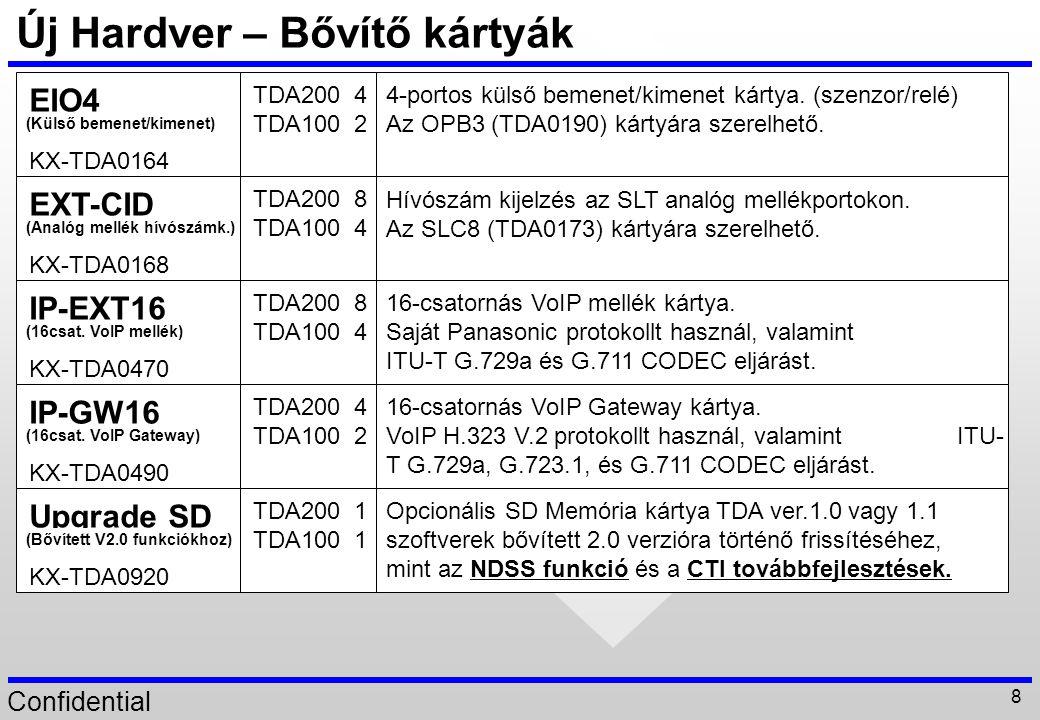 """Confidential 59 CTI fejlesztés Új hardver támogatásaKülső szenzor, IP-PT Csengetés típus vezérlés továbbirányított hívásoknál Rugalmas (""""absent ) üzenet beállítás Egyéb fejlesztések MIC (mikrofon) MWL (üzenetlámpa) FCO gomb SP Be/Ki SP hangerő Csengetés Be/Ki LCD kijelző tartalom PT Igen IP-PT Igen PS Igen PT (rendszerkész.)vezérlés MultiPBX funkció2 alközpont vezérlése TAPI-val."""