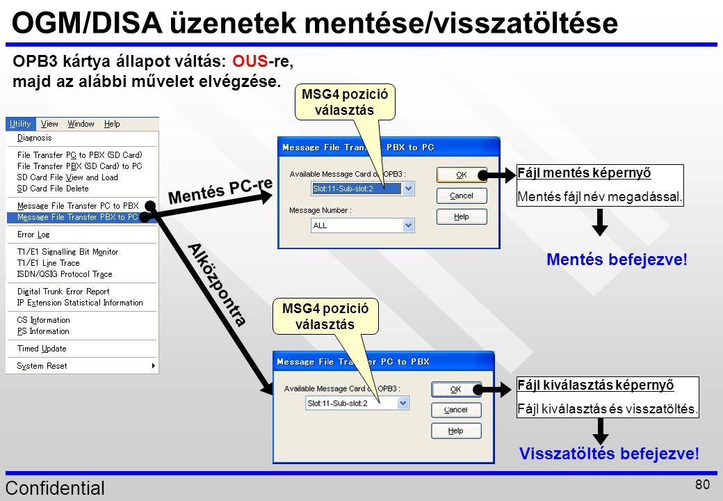 Confidential 80 Fájl mentés képernyő Mentés fájl név megadással. OGM/DISA üzenetek mentése/visszatöltése OPB3 kártya állapot váltás: OUS-re, majd az a