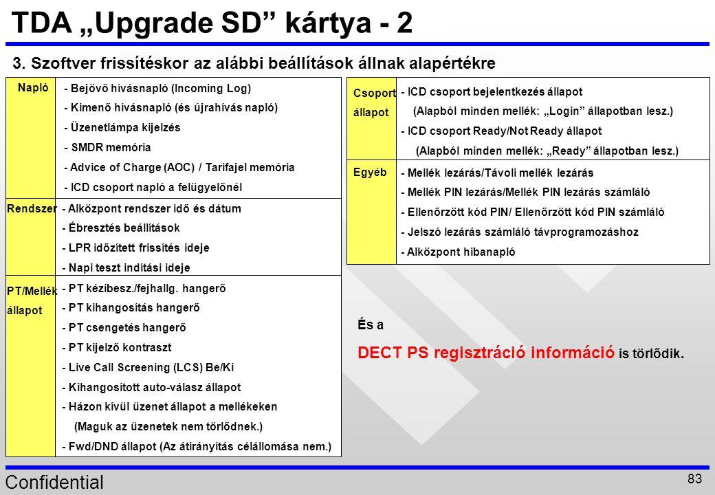 """Confidential 83 TDA """"Upgrade SD"""" kártya - 2 3. Szoftver frissítéskor az alábbi beállítások állnak alapértékre - Bejövő hívásnapló (Incoming Log) - Kim"""