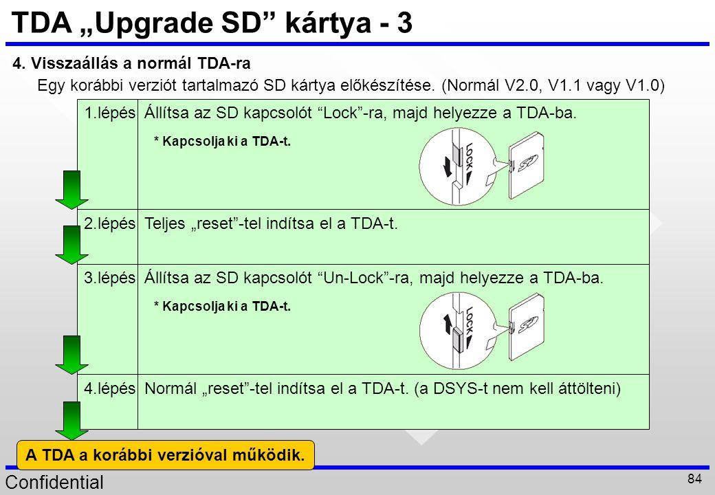 """Confidential 84 TDA """"Upgrade SD"""" kártya - 3 4. Visszaállás a normál TDA-ra Egy korábbi verziót tartalmazó SD kártya előkészítése. (Normál V2.0, V1.1 v"""