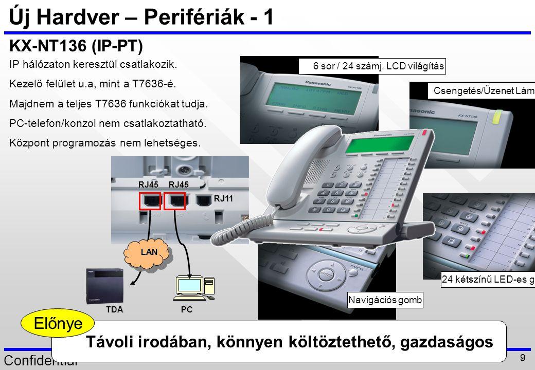 Confidential 20 IP PT –1 (példa konfiguráció) Példa konfiguráció - Az IP-PT(KX-NT136) funkciók hasonlóak a KX-T7636 funkciókhoz.