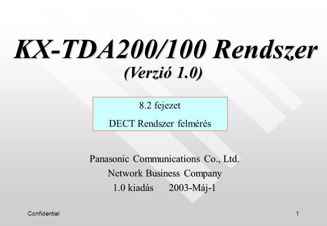 Confidential1 KX-TDA200/100 Rendszer (Verzió 1.0) KX-TDA200/100 Rendszer (Verzió 1.0) 8.2 fejezet DECT Rendszer felmérés Panasonic Communications Co., Ltd.