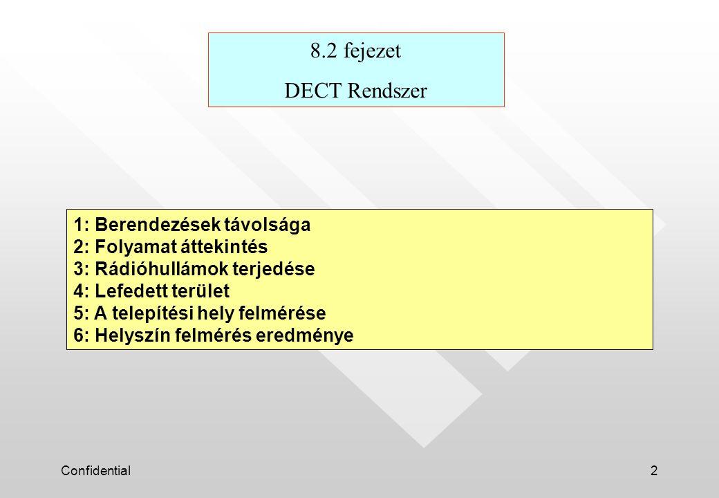 Confidential2 1: Berendezések távolsága 2: Folyamat áttekintés 3: Rádióhullámok terjedése 4: Lefedett terület 5: A telepítési hely feImérése 6: Helyszín felmérés eredménye 8.2 fejezet DECT Rendszer