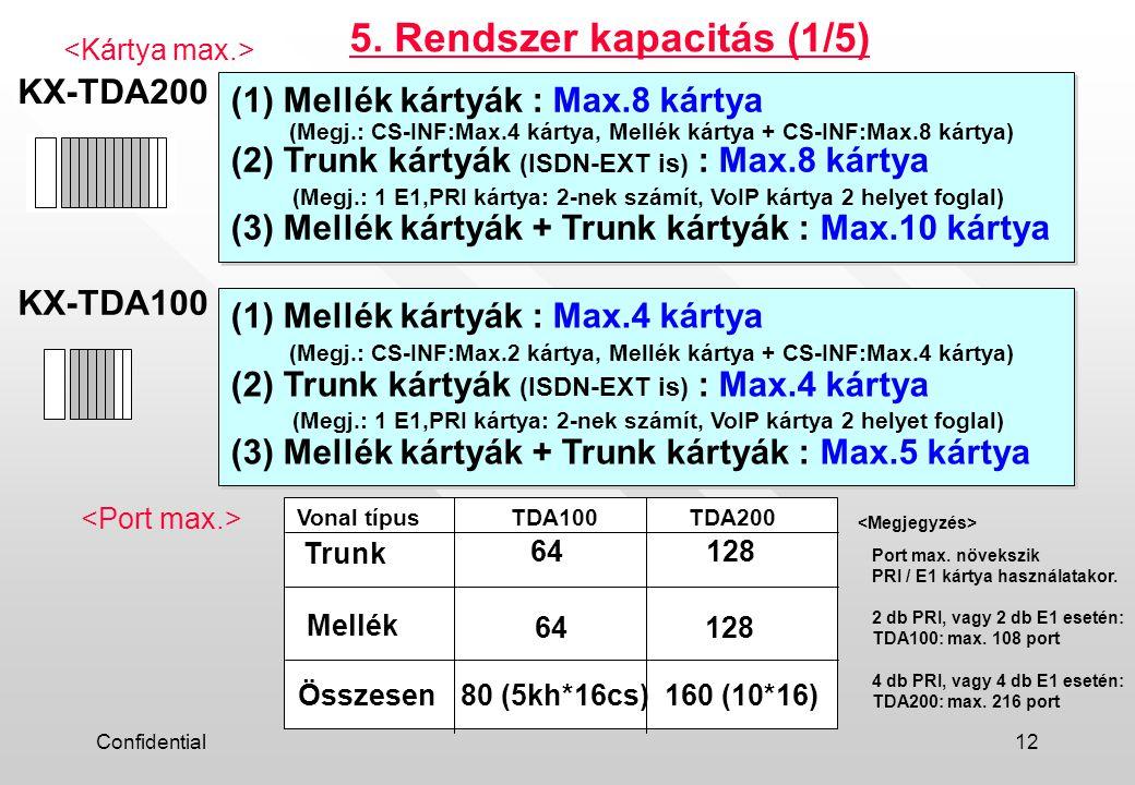 Confidential12 KX-TDA200 (1) Mellék kártyák : Max.8 kártya (Megj.: CS-INF:Max.4 kártya, Mellék kártya + CS-INF:Max.8 kártya) (2) Trunk kártyák (ISDN-EXT is) : Max.8 kártya (Megj.: 1 E1,PRI kártya: 2-nek számít, VoIP kártya 2 helyet foglal) (3) Mellék kártyák + Trunk kártyák : Max.10 kártya (1) Mellék kártyák : Max.8 kártya (Megj.: CS-INF:Max.4 kártya, Mellék kártya + CS-INF:Max.8 kártya) (2) Trunk kártyák (ISDN-EXT is) : Max.8 kártya (Megj.: 1 E1,PRI kártya: 2-nek számít, VoIP kártya 2 helyet foglal) (3) Mellék kártyák + Trunk kártyák : Max.10 kártya KX-TDA100 (1) Mellék kártyák : Max.4 kártya (Megj.: CS-INF:Max.2 kártya, Mellék kártya + CS-INF:Max.4 kártya) (2) Trunk kártyák (ISDN-EXT is) : Max.4 kártya (Megj.: 1 E1,PRI kártya: 2-nek számít, VoIP kártya 2 helyet foglal) (3) Mellék kártyák + Trunk kártyák : Max.5 kártya (1) Mellék kártyák : Max.4 kártya (Megj.: CS-INF:Max.2 kártya, Mellék kártya + CS-INF:Max.4 kártya) (2) Trunk kártyák (ISDN-EXT is) : Max.4 kártya (Megj.: 1 E1,PRI kártya: 2-nek számít, VoIP kártya 2 helyet foglal) (3) Mellék kártyák + Trunk kártyák : Max.5 kártya 5.