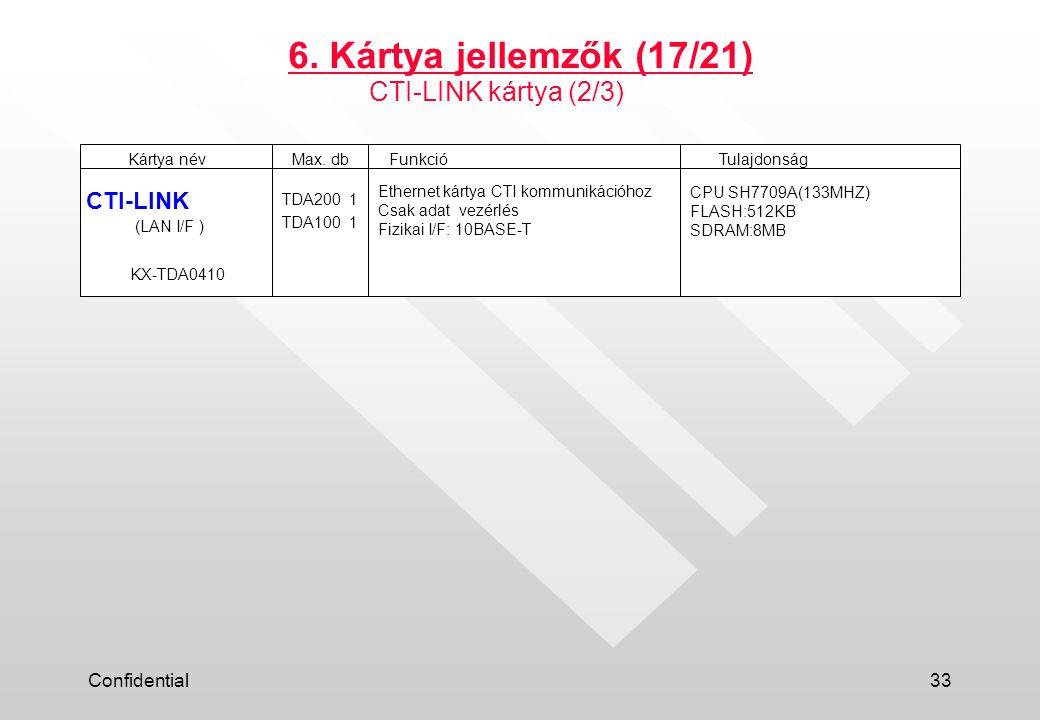 Confidential33 6.Kártya jellemzők (17/21) Kártya névFunkcióTulajdonságMax.